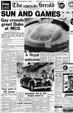 1956 Melbourne Olympics. The Herald Newspaper in Melbourne,Australia reporting on the Royal visit to the Games on Thursday 22nd November 1956. v@e.