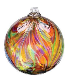 Take a look at this Festive Multicolor Kitras Feather Ball by Kitras Art Glass on #zulily today!