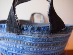 Beautiful use of denim seam pieces for coiled basket. Make shopping tote?