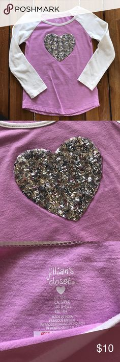 Girls Long Sleeve Tee Super Cute Sequence Heart // good Condition// great for Valentine's Day Shirts & Tops Tees - Long Sleeve