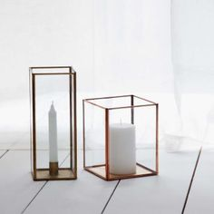 Kerzenhalter Sankari, Glas, Kupfer, 11x11x28 cm