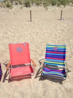 Monogrammed beach chairs.
