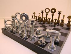 I made one of these for my son a few years ago. hardware chess set
