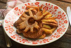 Egyszerű cigánypecsenye Apple Pie, Hummus, Waffles, French Toast, Pork, Cooking Recipes, Breakfast, Ethnic Recipes, Desserts