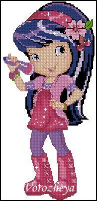 Gallery.ru / Принцесса-Вишенка - Шарлотта- земляничка - Vorozheya Cross Stitch For Kids, Cross Stitch Art, Cross Stitching, Cross Stitch Embroidery, Embroidery Patterns, Cross Stitch Patterns, Graph Crochet, Stitch Character, Cross Stitch Needles