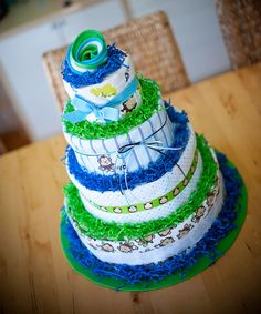 Baby Boy Blue and Green Monkey Themed 4 Tier Diaper Cake. $130.00, via Etsy.