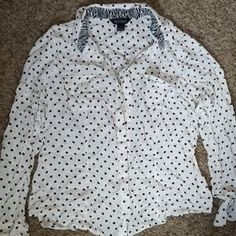 White House Black Market Tops | Silk Polka Dot Blouse Button Down Shirt | Poshmark Polka Dot Blouse, Polka Dot Top, Button Downs, Button Down Shirt, Black House, Silk Top, Ootd, How To Make, Things To Sell