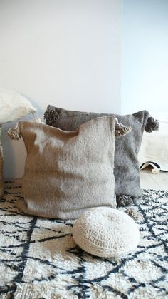 Image of Moroccan POM POM pillow cover - wool natural undyed Light Grey