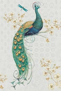 Ornate Peacock IXA by Daphne Brissonnet Peacock Nail Art, Peacock Painting, Peacock Pictures, Art Pictures, Vintage Birds, Painting Inspiration, Creative Art, New Art, Framed Art