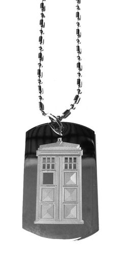 Tardis Box British Police - Military Dog Tag, Luggage Tag Metal Chain Necklace -- Click image to review more details.
