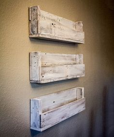 Stay organized with a little rustic flair using these wall-mounted shelves made from reclaimed wood.