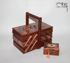 2 Nähen / Stricknadeln Box mit Nadelkissen  von UltroViolet auf Etsy