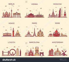 Europe skylines detailed silhouette. Berlin, Vienna, Moscow, Venice, Paris, Rome, London, Amsterdam, Barcelona. Trendy vector illustration, line art style.