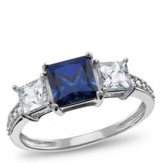 Sterling Silver, Lab-Created Sapphire and Lab-Created White Sapphire Ring - by Samuels Jewelers