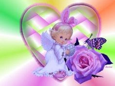 Purple Angel with Rose | special angel wallpaper beautiful picture of a little angel with