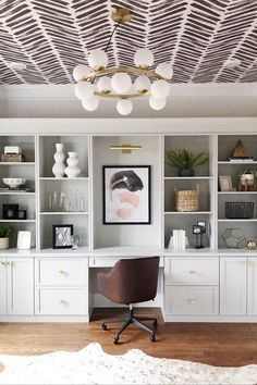 The Most Unexpectedly Beautiful Place to Put Wallpaper? Your Ceiling – Home Office Wallpaper Decor, Office Built Ins, Charcoal Wallpaper, Interior, Home, House Interior, Home Office Design, Interior Design, Office Design