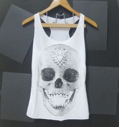 Skull tank top, skeleton shirt, gothic skull White,teen girls clothing size XS,S singlet crop top shirt blouse $12.00