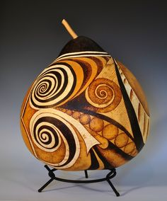 Wood Burned Gourd Pyrography by NessysNest