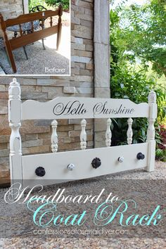 painted furniture headboard to coat organizer upcycle, chalk paint, home decor… Refurbished Furniture, Repurposed Furniture, Furniture Makeover, Painted Furniture, Furniture Projects, Home Projects, Diy Furniture, Automotive Furniture, Automotive Decor