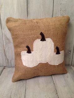 Rustic white pumpkin pillow Pumpkin Pillows, Burlap Pillows, Sewing Pillows, Rustic Pillows, Throw Pillows, Rustic Halloween, Halloween Ideas, Strawberry Art, Recycled Sweaters