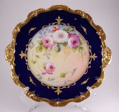 Beautiful B&H Limoges Cobalt Raised Gold Hand Painted Pink Roses Handled Plate #elitelimoges