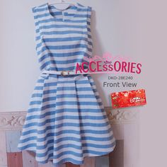 SOLD OUT! BRAND NEW FROM SOUTH KOREA  Navy Lined Dress (DKO-28E240)  Size (Quantity):- Free Size (1) Exclude belt  SG50 Special Price now $40 (BIG LOSS) -only payment through Bank Transfer (With FREE SingPost Am Mail within Singapore). You can buy it at our website! Like us at http://www.facebook.com/tiramisuboutiquesg  More info at http://theaccessories.co/product/dko-28e240  #women #dress #apparel #korea #mid-flare cut #sleeveless #office #elegant #lovely #cotton #lines #blue #denim