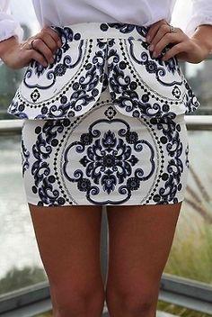 printed black and white skirt