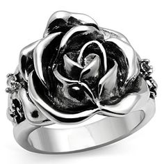 Vintage Flower Carved Rose Rhodium Antique Silver CZ Ring Size 5 6 7 8 9 10 | eBay $17.99