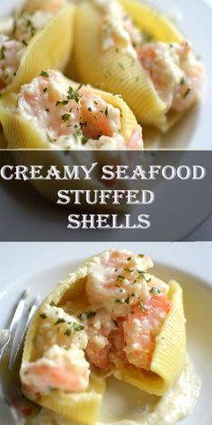 Creamy Seafood Stuffed Shells, Repeat until all shells are filled. For all of th. Creamy Seafood Stuffed Shells, Repeat until all shells are filled. For all of these, be certain there's no shell in the egg liquids you're likely to freeze. Appetizers For A Crowd, Seafood Appetizers, Seafood Dinner, Seafood Stuffed Shells Recipe, Alfredo Stuffed Shells, Shells Seafood, Healthy Stuffed Shells, Fish Recipes, Seafood Recipes