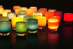 colored candle holders
