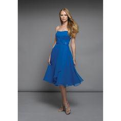 A-Line Strapless Chiffon Knee-Length Blue Bridesmaid Dress