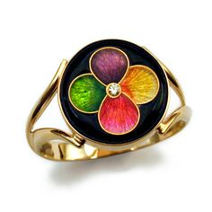 14kt yellow gold cloisonne ring by Magick. LCR01289. #jewelry #enamel