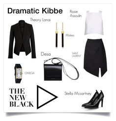 Dramatic Kibbe Black by barbara-hubmann on Polyvore featuring Mode, Rosie Assoulin, Theory, Yves Saint Laurent, STELLA McCARTNEY, DESA, OMEGA and Mateo