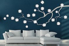 Contemporary Flower Branch Decal Floral Branch Wall Decal