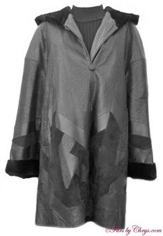 Hooded Black Leather and Sheared Mink Stroller Coat #LM497; $450.00;   Excellent Condition; Size range: 12 - 16 This is a stunning black leather and suede stroller coat with a sheared black mink zip-out lining. The mink lining is constructed of super-soft sheared mink leg fur in a beautiful chevron pattern. The leather and suede are worked into a contemporary design. It features a hood that is lined with dyed black sheared mink leg fur.  This leather and sheared mink fur coat is a quality piece!