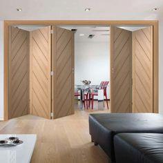 Thrufold Monza Oak 3+2 Folding Door  - Lifestyle Image.    #modernfoldingdoors #interiorfoldingdoors