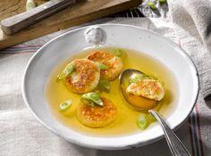 Suppe mit Erdäpfel-Knödeln #recipe #soup #potato #dumplings #food #foodphotography