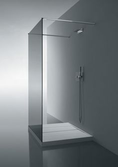 *minimal bathroom design, modern interiors, white* - Shower base and glass wall divider by Cosmic