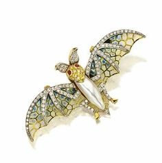 Plique-a-jour enamel, pearl, ruby and diamond bat pin