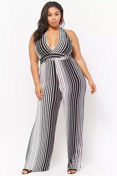 38c0af16eef Plus Size Striped Wide-Leg Jumpsuit