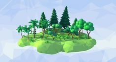 3D fbx lowpoly forest low