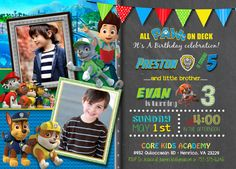 Paw Patrol Joint Birthday Invitation - Boy Girl Invite Brother Sister Double Invite With Photo Twins Party Invitation - Skye Chase