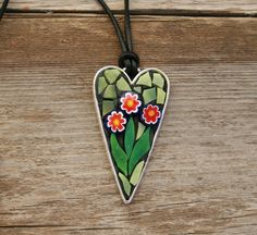 Mosaic Pendant-Heart with Flowers, Wearable Art by GreenLizardMosaics on Etsy