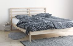 TARVA Bed frame - Luröy, Queen - IKEA For our guest room. Either in queen or double-size, depends on the size of the room. Cama Ikea, Cama Murphy Ikea, Murphy-bett Ikea, Home Bedroom, Master Bedroom, Bedroom Decor, Bedroom Simple, Simple Bed, Gray Bedroom