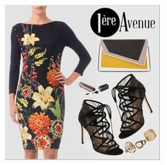 """""""Floral Dress by Joseph Ribkoff"""" by premiereavenue-boutique ❤ liked on Polyvore featuring Joseph Ribkoff, Pour La Victoire and âme moi"""