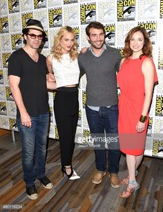 Actors Billy Burke, Nora Arnezeder, James Wolk and Kristen Connolly attend the CBS Television Studios press room during Comic-Con International 2015 at the Hilton Bayfront on July 9, 2015 in San Diego, California.