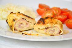 Palavras que enchem a barriga: Bifes de frango recheados com fiambre de frango e queijo light e uma dança da vitória :)