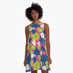 'Echeveria flower in classic blue and lime green ' A-Line Dress by Amanda D-Hay Echeveria, Amanda, Lime, Summer Dresses, Classic, Green, Flowers, Printed, Awesome