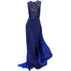 EllieSaab-editedbyelfemme ❤ liked on Polyvore featuring dresses, gowns, long dresses, vestidos, blue, long blue dress, blue gown, blue evening gown and blue evening dresses
