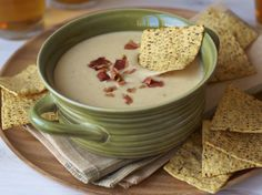 Cabot - This easy recipe for warm cheddar, ale and bacon dip as all the rich, cheesy flavor of cheddar-beer soup in a scoopable party dip. Bacon Cheese Dips, Bacon Dip, Jalapeno Cheese, Cheese Sauce, Appetizer Dips, Best Appetizers, Appetizer Recipes, Dip Recipes, Cooking Recipes